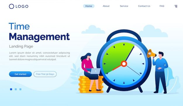 Time management landing page flat vector template