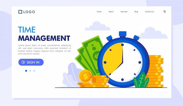 Time management landing page website illustration