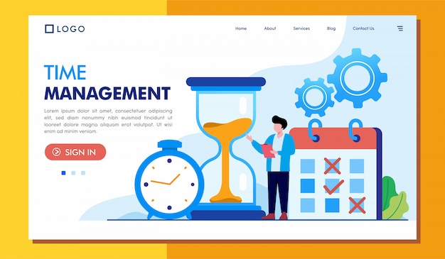 Time management landing page website