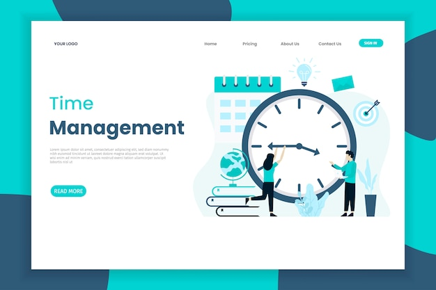 Time management landing page with character of people