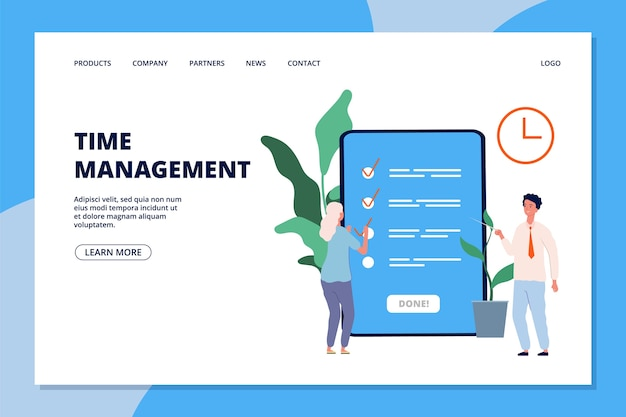 Time management landing page. woman and business consultant, to do list or online planning app web page template.