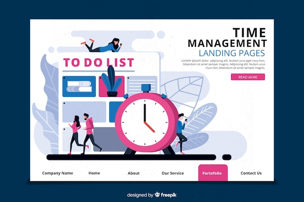 Time management for landing page