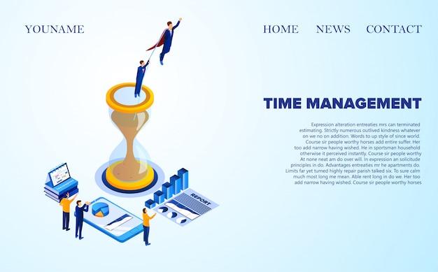 Рекламный баннер time management lettering. человек в красном плаще спас человека из песочных часов. маленькие люди в костюмах приветствуют успешный отчет изометрические. иллюстрация landing page.