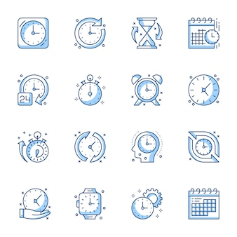Time management linear icons set.
