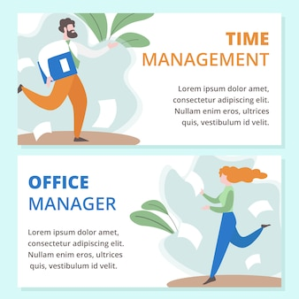 Time management, office manager vector banners