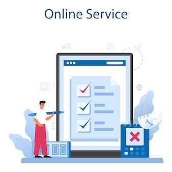시간 관리 온라인 서비스 또는 플랫폼. 비즈니스 사람들은 시간 또는 프로젝트 계획을 수행합니다. 프리미엄 벡터
