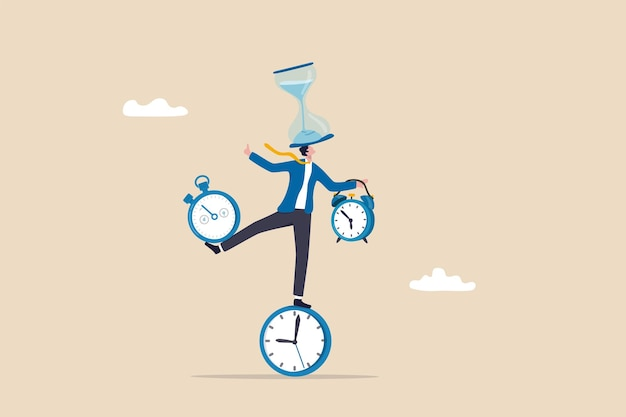 시간 관리 또는 생산성 중독, 일과 삶의 균형 또는 제어 작업 프로젝트 시간 및 일정 개념, 모든 시간 조각, 모래시계, 알람 시계, 카운트다운 타이머 균형을 조정하는 똑똑한 사업가.