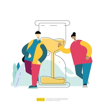 Time management and organize schedule with hourglass and people cartoon character. date organizer plan task deadline concept with flat style vector illustration