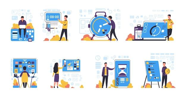 시간 관리. 작업 및 일정 계획, 생산성 향상 및 효과적인 의제에 대한 격리된 개념을 구성합니다. 벡터는 사무실 작업 구성을 위한 시계가 있는 평면 이미지 사람들을 설정합니다.