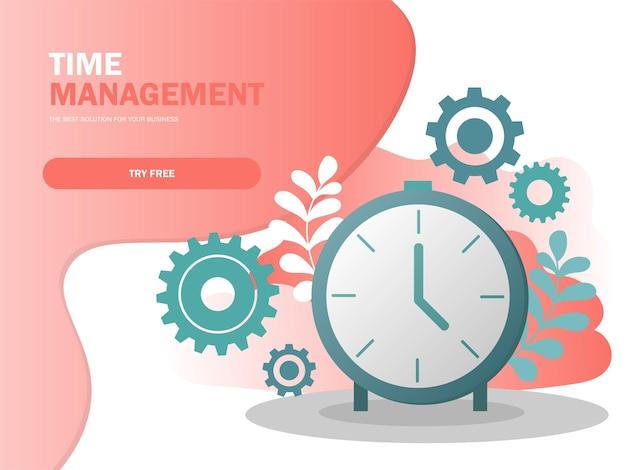 Концепция планирования и управления тайм-менеджментом для эффективного успешного и прибыльного бизнес-состава, векторная иллюстрация плаката в современных цветах