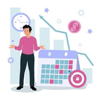 Концепция планирования и контроля управления временем для эффективного успешного и прибыльного бизнеса с плоским составом иллюстрации плаката