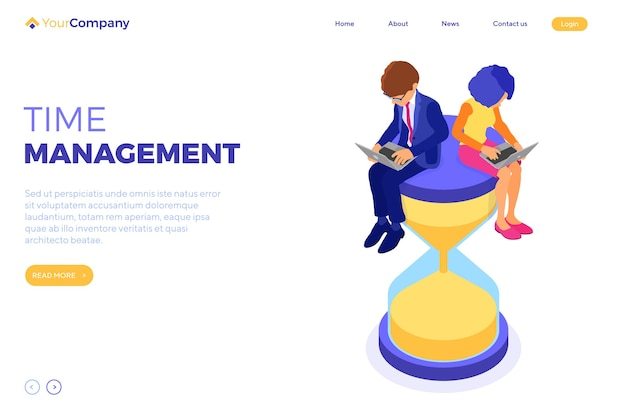 Time management planning schedule from home with business man and woman work on laptop and sit on hourglass. landing page. deadline time. isometric infographics business isolated
