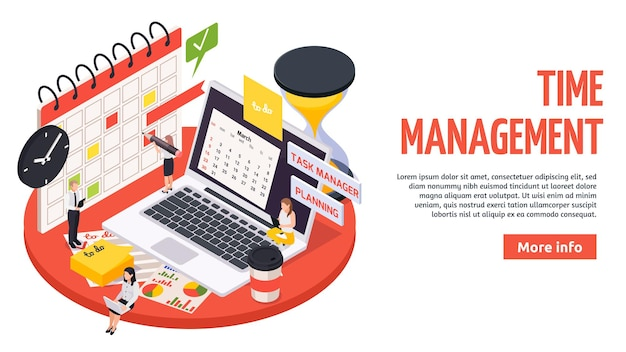 Time management planning schedule isometric banner