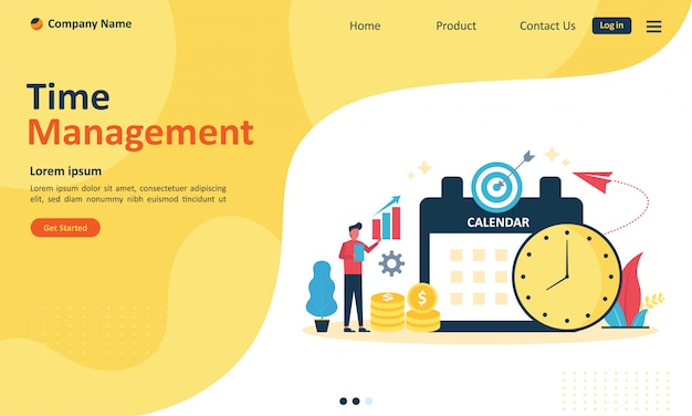 Time management planning for web landing page