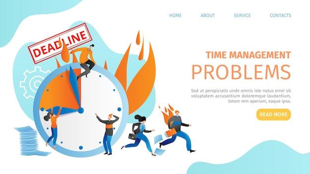 Time management problem, business deadline at alarm clock banner