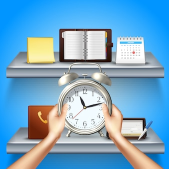 Time management realistic 3d composition