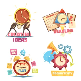 Time management retro cartoon compositions with creating ideas and deadline effective planning
