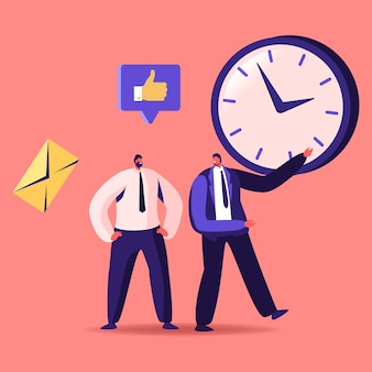 Time management, sales funnel, procrastination in business illustration.