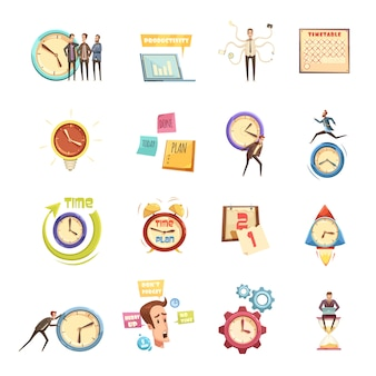 Time management set of retro cartoon icons with hurry man planning productivity startup calendar