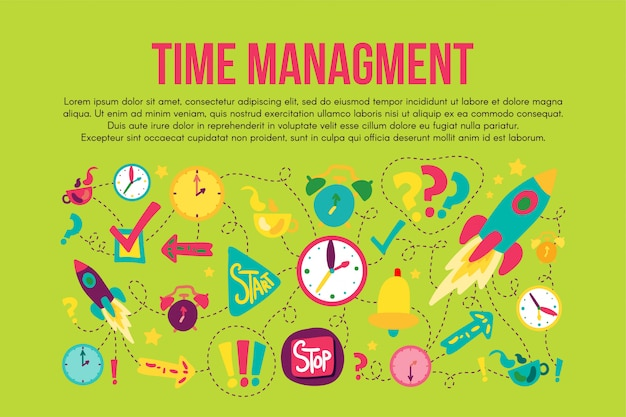 Time management stickers set set. cartoon illustrations. dash line drawings with lettering, copyspace