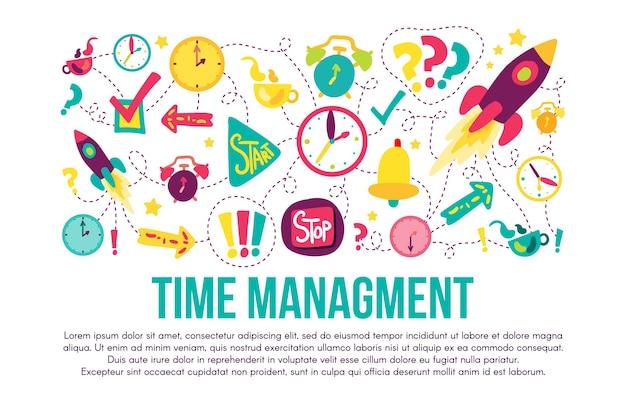 시간 관리 스티커 세트입니다. 만화 삽화. 레터링, 카피스페이스가 있는 대시 라인 드로잉