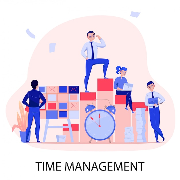 Time management successful teamwork deadline stress overcoming with task planning control alarm clock flat composition vector illustration