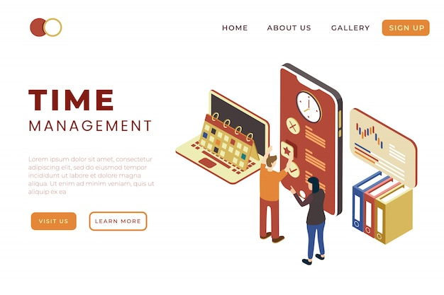 Time management and teamwork solution in isometric 3d illustration design