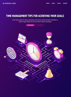 Time management tips isometric landing page, work organization, goal achievement concept.