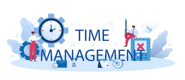 時間管理の活版印刷ヘッダー