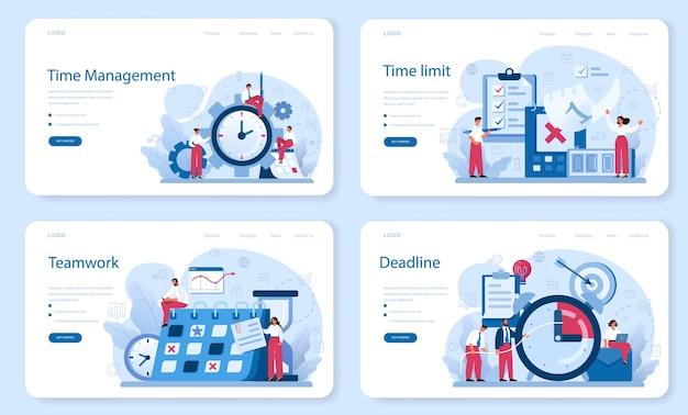 Time management web banner or landing page set