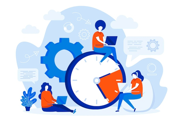 Time management web concept design with people characters illustration