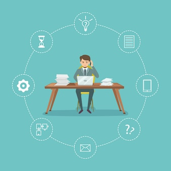Time management with businessman sitting on desk and office elements around