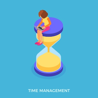 Time management with girl and hourglass