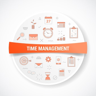 Time management with icon concept with round or circle shape