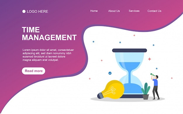 Time management  with people character for web landing page template.