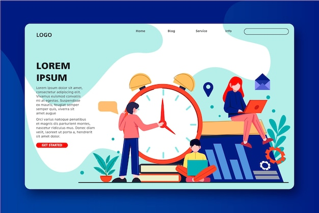 Time management with people and clock landing page