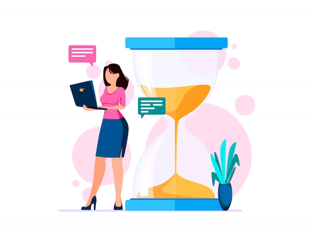 Time management, woman holding a pc