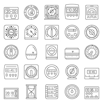 Time measure icon set. outline set of time measure vector icons