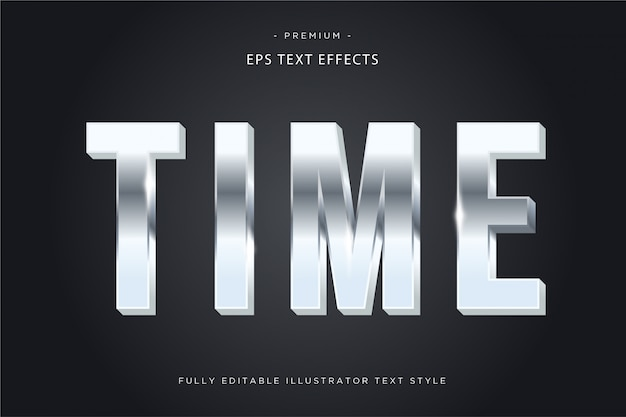 Time metallic text effect  time text style