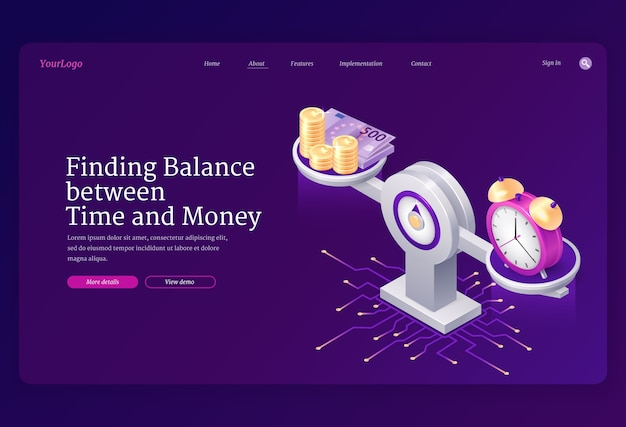Time and money balance on scale landing page template