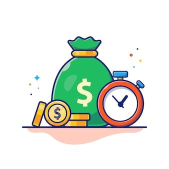 Время деньги иллюстрация. часы, денежный мешок и стопка монет