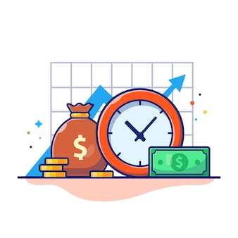 Time money illustration. clock, money bag and stack of coins, business concept white isolated