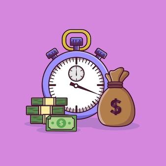 タイムマネーイラストストップウォッチマネーバッグとコインのスタックビジネスコンセプト Premiumベクター