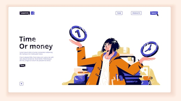 Modello di pagina di destinazione tempo o denaro