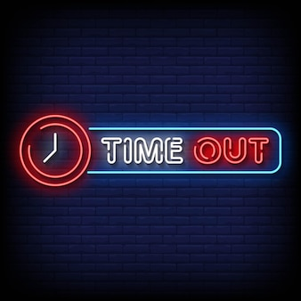 Time out neon signs style text vector