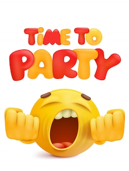 Time to party invitation card with cartoon smile face character.