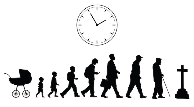 Time passing, vector concept on the white background