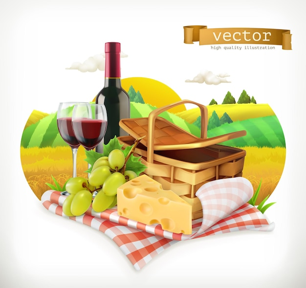 Time for a picnic, nature, outdoor recreation, a tablecloth and picnic basket, wine glasses, cheese and grapes,  illustration