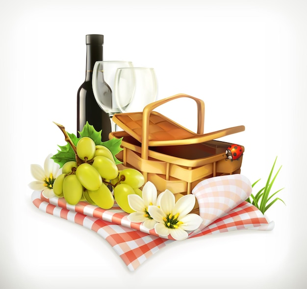 Time for a picnic, nature, outdoor recreation, a tablecloth and picnic basket, wine glasses and grapes,  illustration showing the summertime