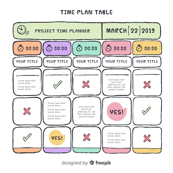 Time plan table design